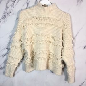 Blue B    Fringe Faux Turtle Neck Cream Sweater